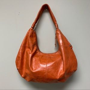 Hobo Orange Leather Sling Shoulder Bag